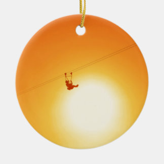 zipline ceramic ornament