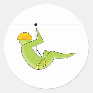 Zipline Rider Stick Figure Icon Classic Round Sticker