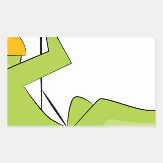 Zipline Rider Stick Figure Icon Rectangular Sticker