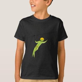 Zipline Rider Stick Figure Icon T-Shirt