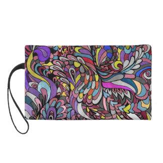 Zipper Bag Purple Peacock Multicolor Funky Paisley Wristlet Purse