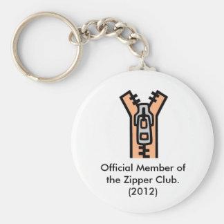 Zipper Club Basic Round Button Keychain