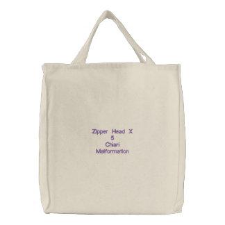 Zipper Head X 5 Embroidered Tote Bag
