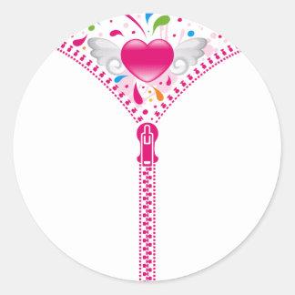 Zipper_Heart Classic Round Sticker