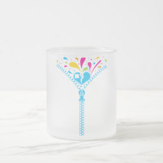 Zipper_Heart Frosted Glass Coffee Mug