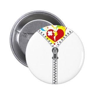 Zipper_Heart Pinback Button