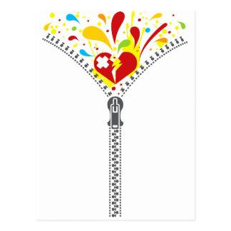 Zipper_Heart Tarjeta Postal