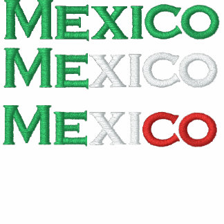 Zipper, Mexico, tri-color embroidery Hoodie