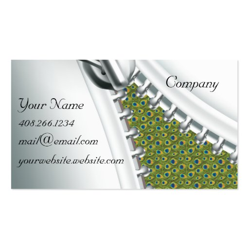 Zipper Peacock Calendar Business Card