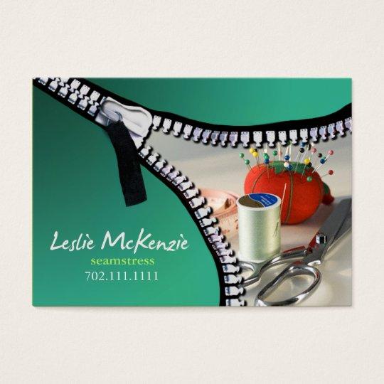 """Zipper"" - Sewing, Dressmaker, Seamstress, Tailor Business Card"