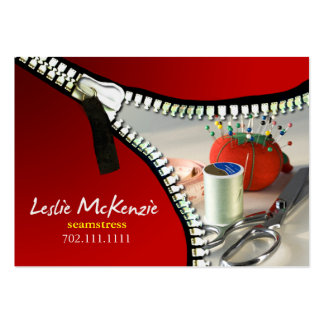 """""""Zipper"""" - Sewing, Dressmaker, Seamstress, Tailor Large Business Cards (Pack Of 100)"""