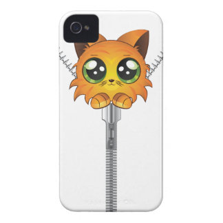 Zipper with red kitten iPhone 4 cover