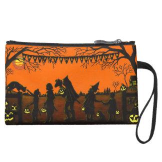 Zippered,accessory,bag,Halloween,pirate,headless Suede Wristlet Wallet