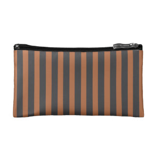 Zippered Bag - Brown & Gray Stripes