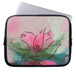 Zippered Laptop Sleeve, Pink Flower Painting Computer Sleeve
