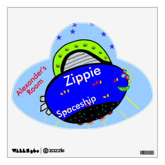 Zippie Spaceship Smiling Blue Fish NAME Wall Sticker