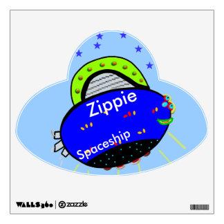 Zippie Spaceship Smiling Blue Fish UFO Wall Decal