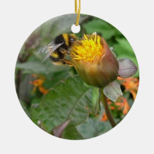 Zipping Bumble Bee Round Ornate Double-Sided Ceramic Round Christmas Ornament