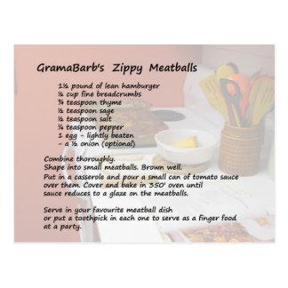 Zippy Meatballs Recipe Postcard