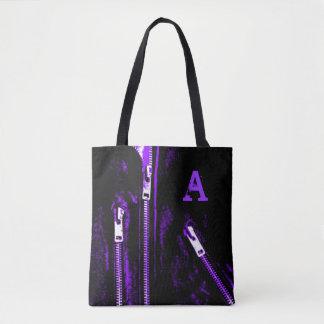 Zips Purple print Monogram all over tote bag