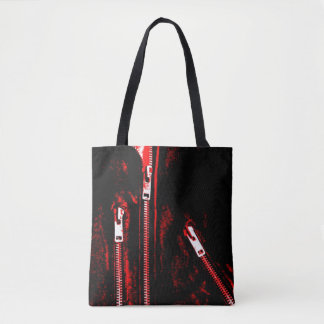 Zips Red print all over tote bag