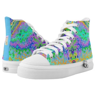 Zipz Hi Top Shoes Flowing Life Abstract Art Printed Shoes