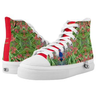 Zipz High Top Canvas Shoes Red Lily Flower Fractal