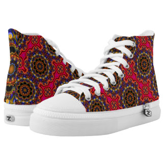 Zipz High Top shoe abstract rainbow mandala stripe
