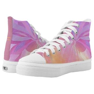 Zipz High Top Shoes Flower Wrap Design Pastels