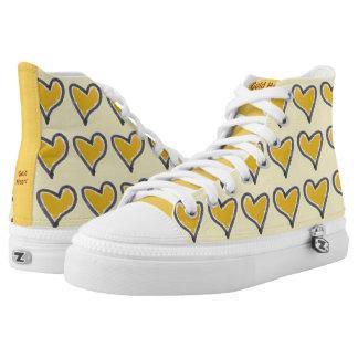 Zipz High Top Shoes Gold Hearts Design