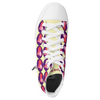 Zipz High Top Shoes Purple Hearts Design Yellow