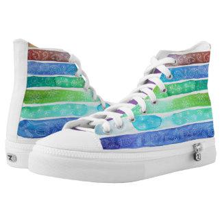 Zipz Watercolour Rainbow Hi-Top trainers