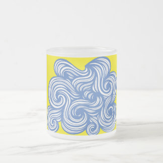 Zitzow Abstract Expression Yellow Blue 10 Oz Frosted Glass Coffee Mug