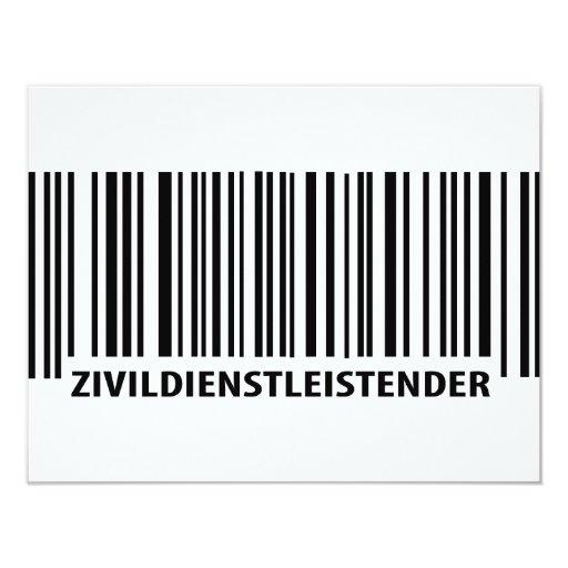 Zivildienstleistender barcode label icon 4.25x5.5 paper invitation card