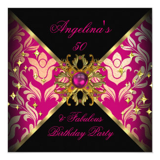 ZIZZAGO DESIGN Fabulous 50 Pink Gold Damask Party Card