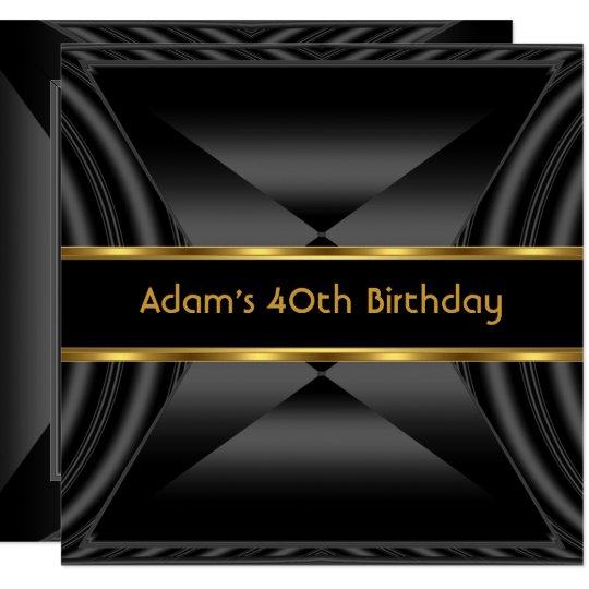 Zizzago Elegant 40th Birthday Party Black Gold Card