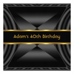 Zizzago Elegant 40th Birthday Party Black Gold Personalized Invitations