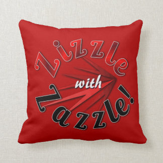 Zizzle with Zazzle on soft red Cushion Pillow