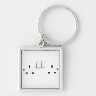 Zócalo eléctrico del Reino Unido Llavero Cuadrado Plateado