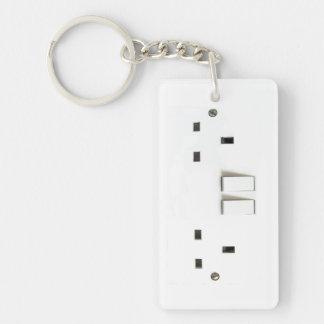 Zócalo eléctrico del Reino Unido Llavero Rectangular Acrílico A Una Cara