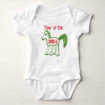 Zodiac 2014 Year of the Horse Cute Green Horse Baby Bodysuit