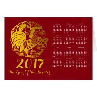 Zodiac 2017 Rooster Year Calendar Greeting Card