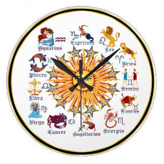 Zodiac 6 Colors Large Clock