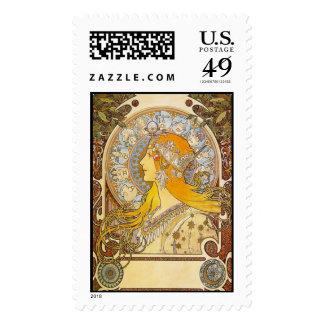 Zodiac, Alphonse Mucha - Postage Stamp