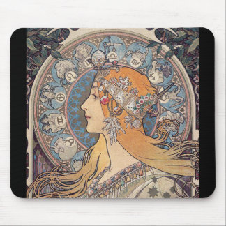 Zodiac and Alfons Maria Mucha Mouse Pad
