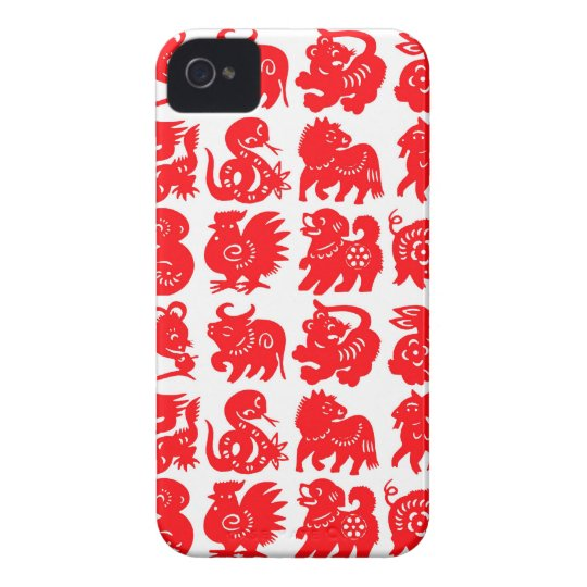 zodiac animals red on white blackberry case
