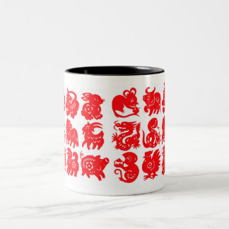 zodiac animals red on white Two-Tone coffee mug