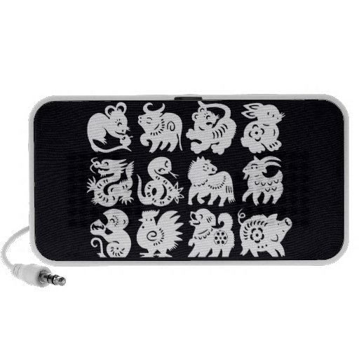 zodiac animals white on black speaker system