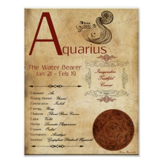 ZODIAC AQUARIUS Birth Sign POSTER