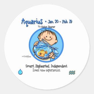 Zodiac - Aquarius Sign Classic Round Sticker